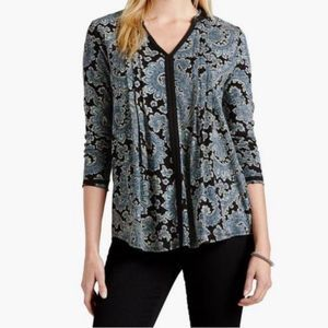 Lucky Brand Black and Blue Paisley Floral Top